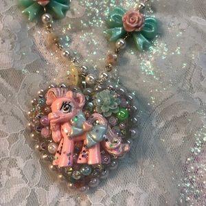 Pink sprinkle pony necklace